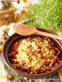 kluski z kalafiora, sos serowy, sos smietanowy, kurki w sosie, sos kurkowy, sos grzybowy