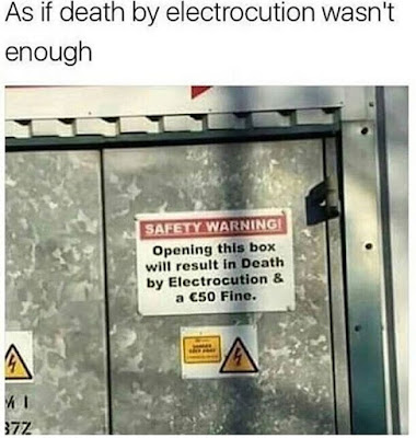 death by electrocution sign
