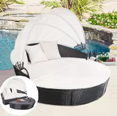 Outdoor Furniture, Wicker Outdoor Daybeds, Wicker Outdoor Furniture, Round Retractable Canopy Daybed