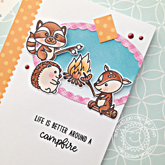 Sunny Studio Stamps: Critter Campout Fancy Frames Happy Campfire Scene Card Set with Franci
