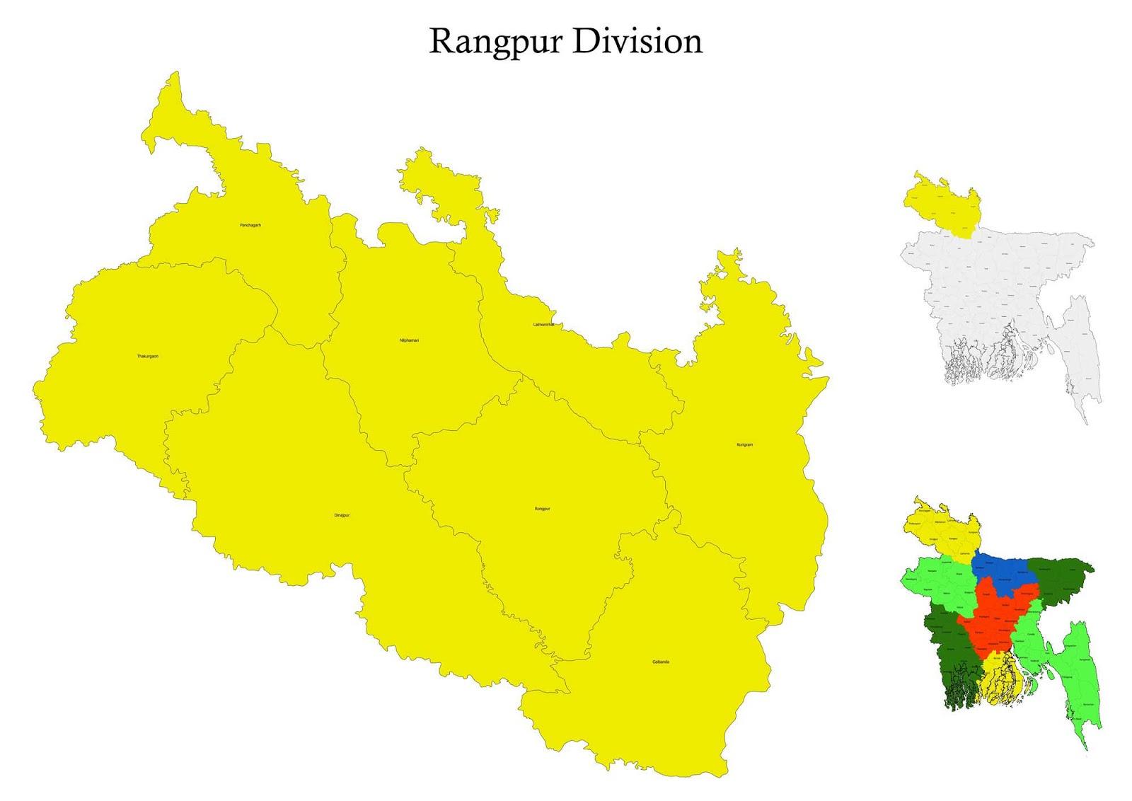 Rangpur Division Map Bangladesh