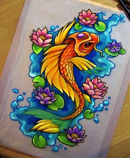 09-Koi-Fish-Danielle-Washington-Brightly-Colored-Pencil-Drawings-www-designstack-co