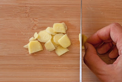 Slice ginger width wise