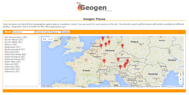 GeoGen German Surname Mapping Tool