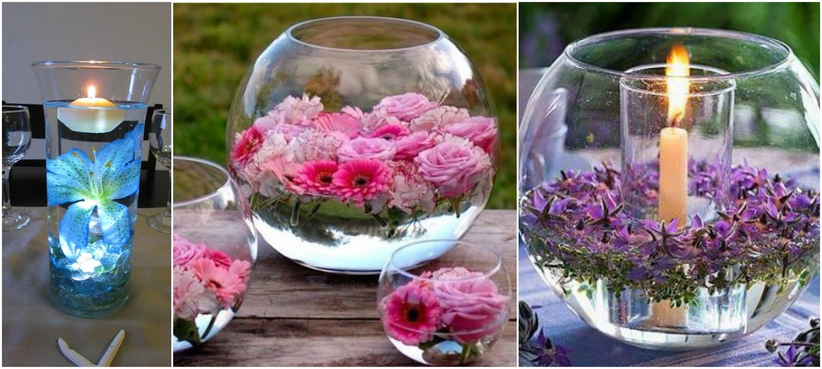 Peceras para tu mesa con flores flotantes truco casero - Decoracion de peceras ...