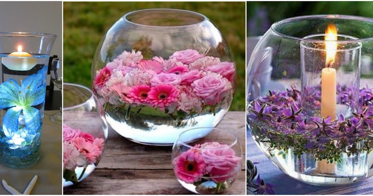 Peceras para tu mesa con flores flotantes truco casero cositasconmesh - Centros de mesa cristal ...