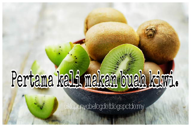 Pertama kali makan buah kiwi.