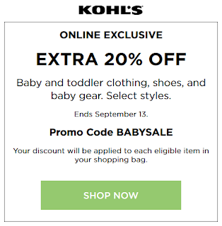 Kohls coupon 20% Off Baby, toddler clothing and baby gear