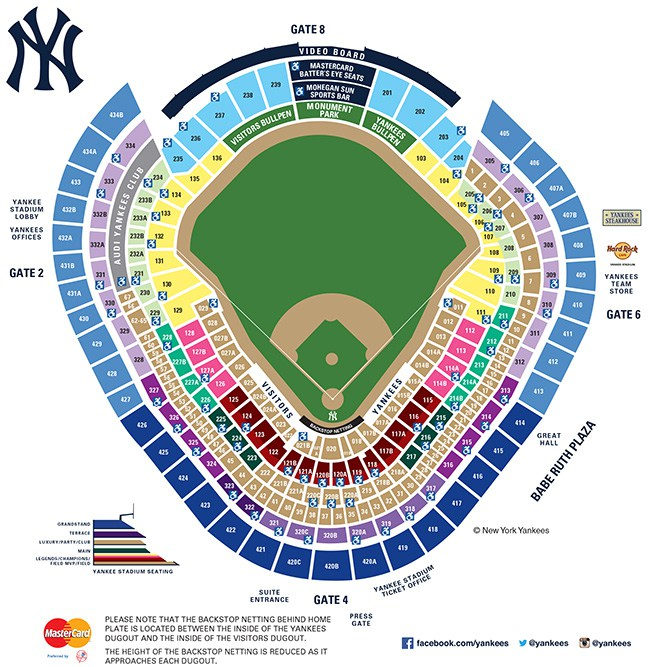 yankees stadium seating chart - 2017 Full Season Ticket License Pricing New York Yankees
