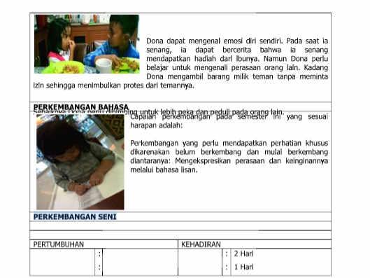 Contoh Laporan Perkembangan Anak PAUD