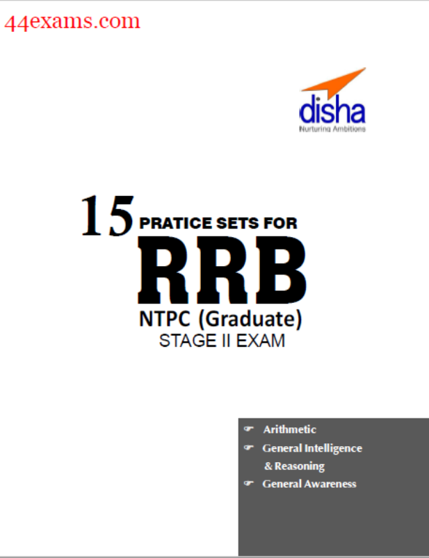15 Practice Sets For RRB NTPC Stage II Exam By Disha Publication : For Railway Exam PDF Book