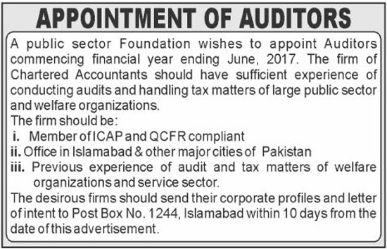 Auditors Jobs Public Sector Organization Islamabad 31 May 2017