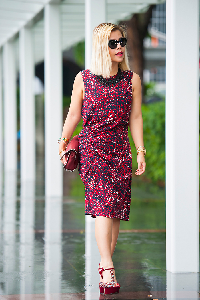 Crystal Phuong dressed in Thakoon printed burgundy dress