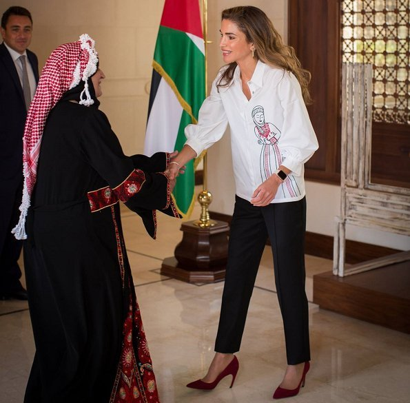 Queen Rania wore a silk embroidery blouse from Alena Akhmadullina Resort18 collection. Russian boyarina style