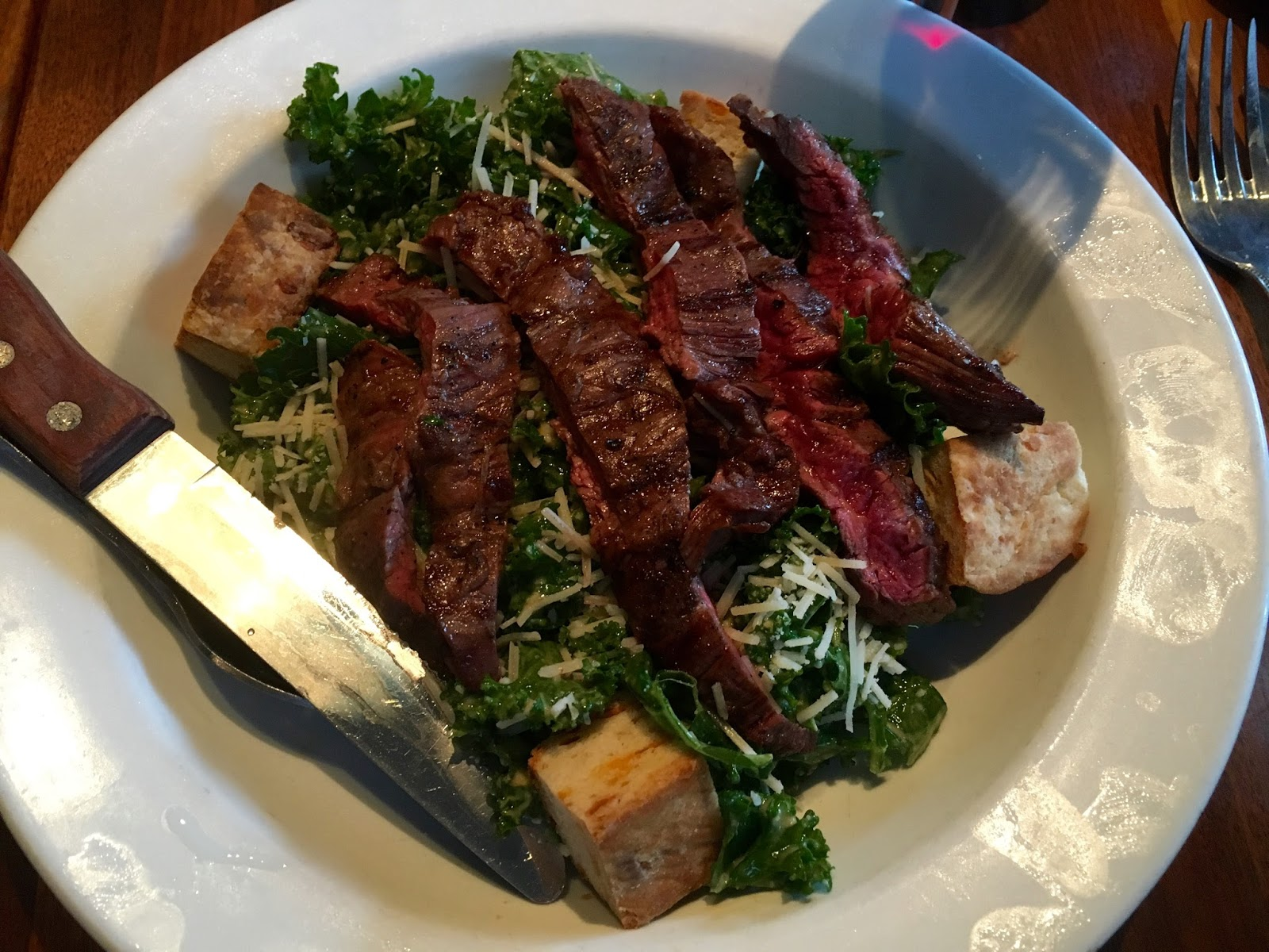 Kale Salad with steak