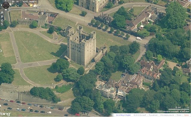 Zamek w Rochester, XIIw. w aplikacji Bird's Eye Bing Maps