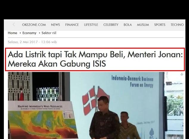 Pernyataan Ngawur Menteri Ignasius Jonan: Ada Listrik tapi Tak Mampu Beli, Mereka Akan Gabung ISIS