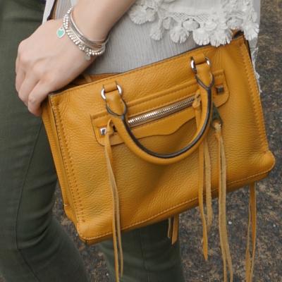 olive jeans adn Rebecca Minkoff micro Regan satchel in Harvest Gold | awayfromtheblue