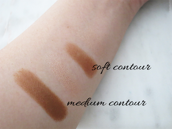 Swatches of Diorblush Light & Contour Sculpting Stick Duo Shadow & Light in 001 Soft Contour and 002 Medium Contour