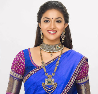 Keerthy Suresh in Blue Saree with Cute Smile in AVR Jewellers Ad Shoot Images