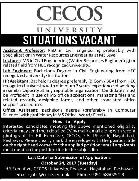 Jobs in CECOS University Peshawar October 2017