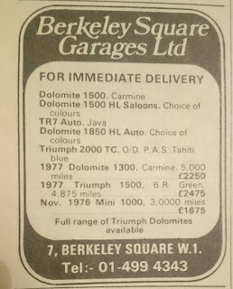 Berkeley Square advert October 1977