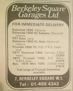 Berkeley Square advert October 1977