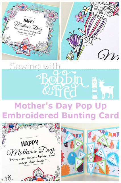 Collage of pictures showing blue embroidered flowers mothers day card with pop up bunting inside