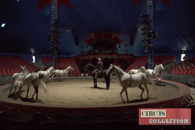 Yvan Frederic Knie  en répétition avec ses chevaux dans le manège du Cirque National suisse Knie