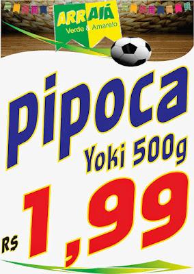 cartaz com a promocão nova da pipoca yoki