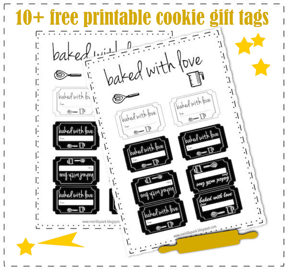 10 free printable cookie gift tags round up meinlilapark today im sharing again my free printable baked with love tags for your baked goods the black and white labels are ink saving and they are looking so cute negle Images