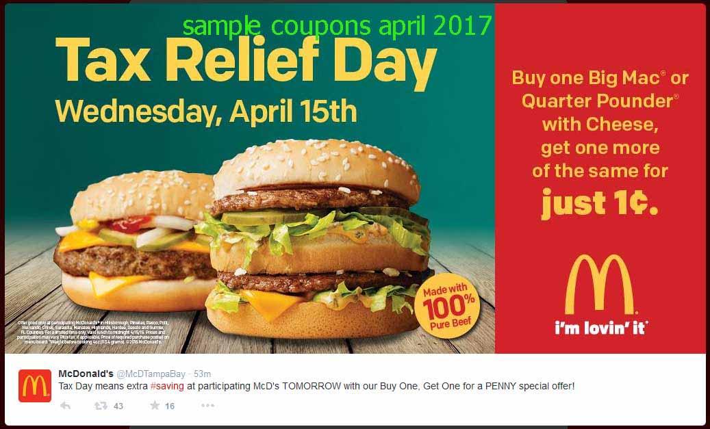 Mcdonalds mailer coupons april