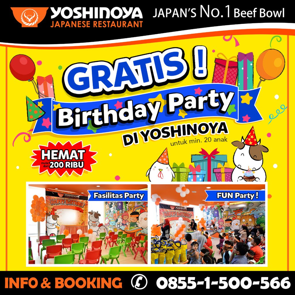 Yoshinoya - Gratis Birthday Party Hemat Milai Daro 200 Ribu