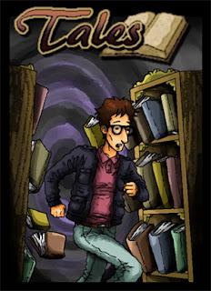 Carátula de la aventura, un hombre con gafas corre mientras a su espalda se desprenden los libros de dos estanterías.