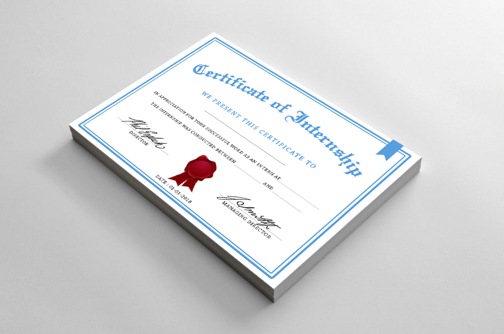 Certificate Of Internship Design Idea In Photoshop