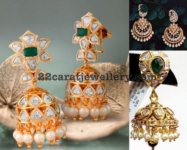 Uncut Diamond Epic Jhumkas with Emeralds