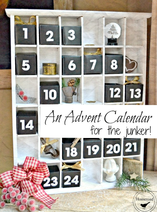 An advent calendar for the junker filled with rusty DIY ornaments and treat boxes