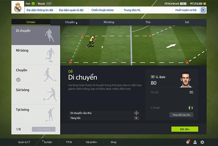 Hướng dẫn về chế độ tập luyện trong FIFA Online 4