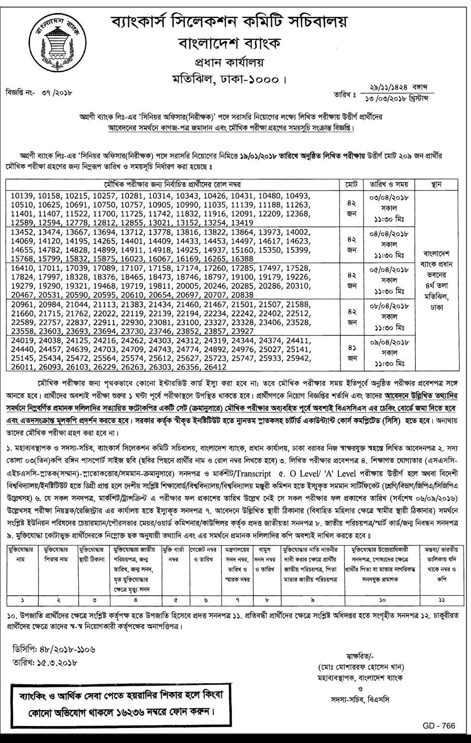 Agrani Bank Limited (ABL) Senior Officer (Audit)  Viva Exam Date, Time and Seat Plan