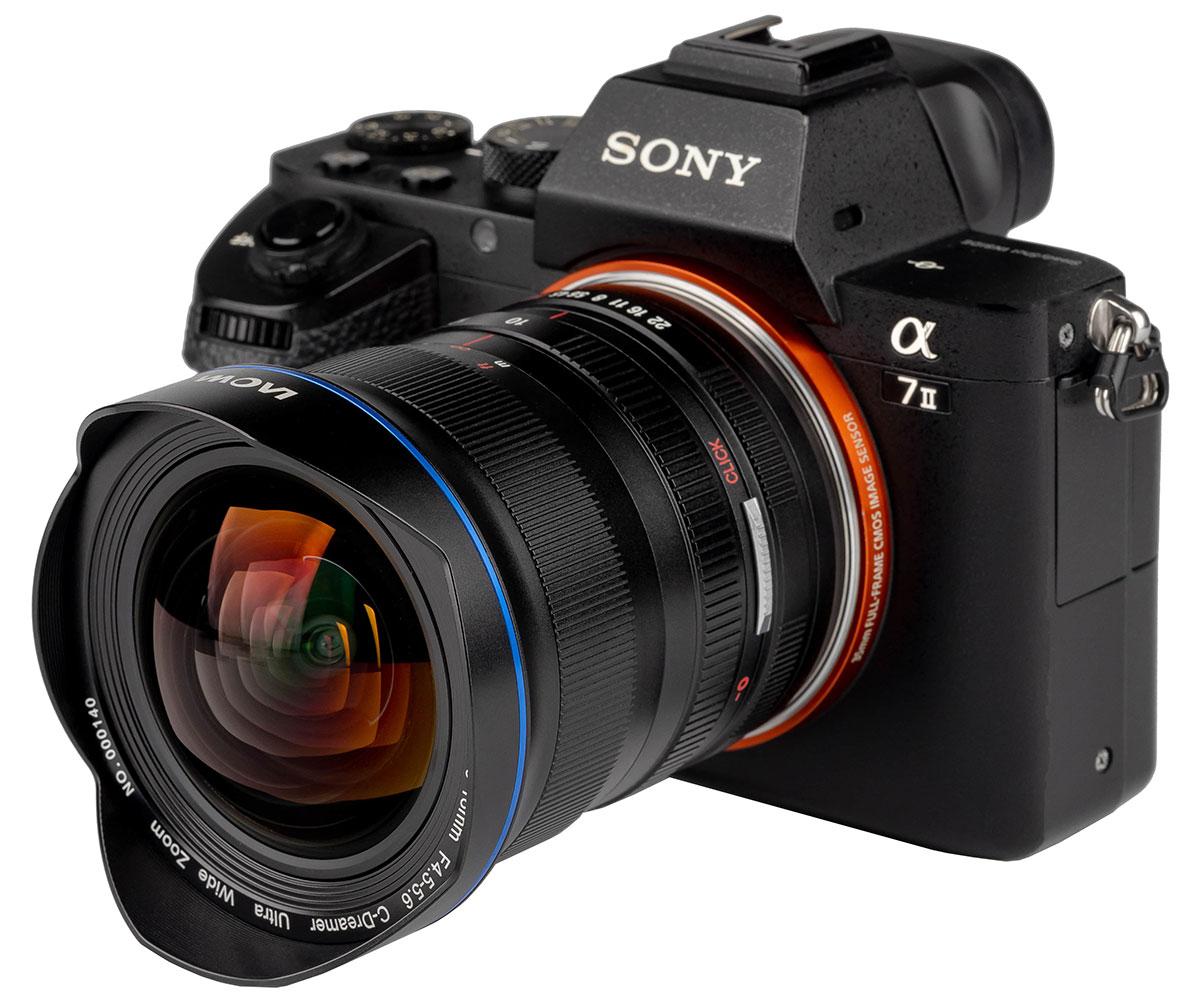 Объектив Laowa 10-18mm f/4.5-5.6 FE Zoom установлен на камеру Sony A7 II