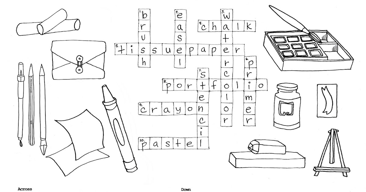 Hey, That's My Art Teacher: Art Journal Terms Crossword Puzzle