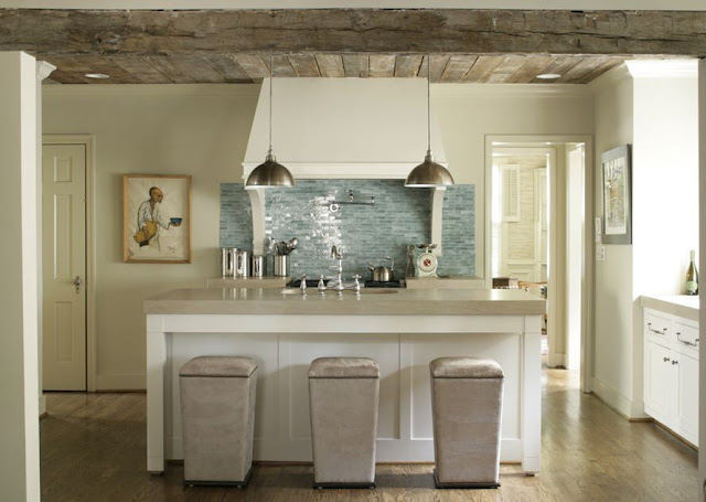 neutral kitchen exposed beams tufted bar stools modern