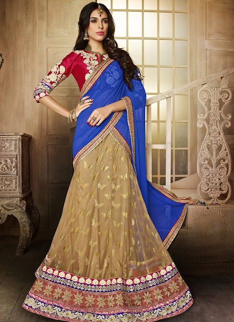 Beige Net Embroidered Lehenga With Dupion Silk Choli