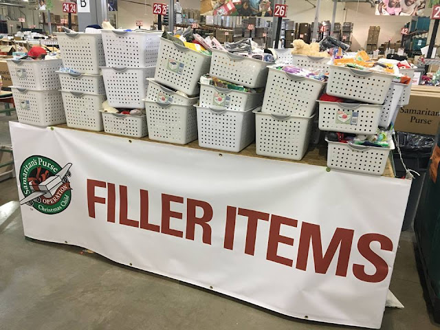 Operation Christmas Child Shoebox Filler Items at Processing Center