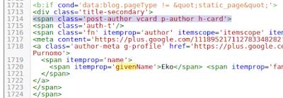 Contoh penerapan script author pada template blogger