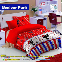 Sprei Custom Katun Lokal Anak Bonjour Paris Karakter Polkadot Merah Putih Biru