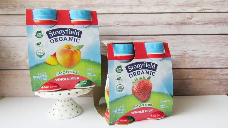 Snack better with Stoneyfield Whole Milk Smoothies in Strawberry or Peach