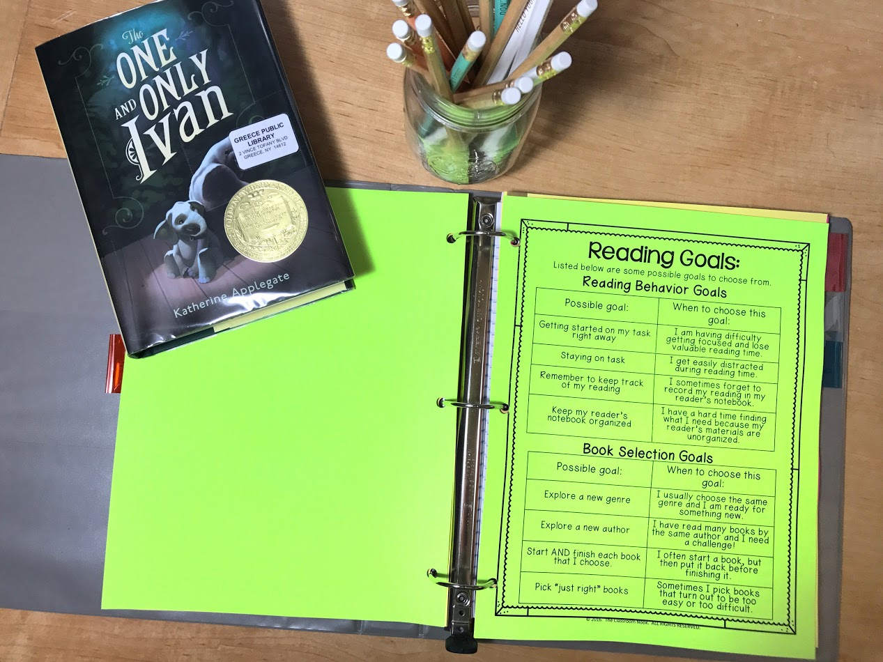 Students keep a list of reading goals inside of their reader's notebook to help them in selecting appropriate goals for themselves.