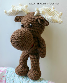 brown crochet moose stuffy