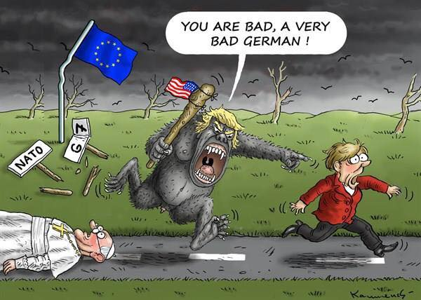 Donald Trump as ogre with club flying the American flag chases Angela Merkel down a road after having laid waste to the Pope, NATO, and the G7.  Trump is shouting,